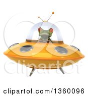 Clipart Of A 3d Green Springer Frog Flying A Yellow Ufo On A White Background Royalty Free Illustration