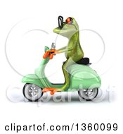 Clipart Of A 3d Bespectacled Green Springer Frog Riding A Light Green Scooter On A White Background Royalty Free Illustration