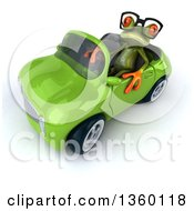Clipart Of A 3d Bespectacled Green Springer Frog Driving A Green Convertible Car On A White Background Royalty Free Illustration