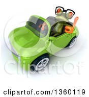 Clipart Of A 3d Bespectacled Green Springer Frog Giving A Thumb Up And Driving A Green Convertible Car On A White Background Royalty Free Illustration
