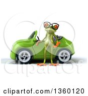 Clipart Of A 3d Bespectacled Green Springer Frog By A Green Convertible Car On A White Background Royalty Free Illustration