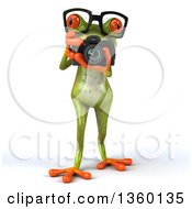 Clipart Of A 3d Bespectacled Green Springer Frog Photographer Taking Pictures With A Camera On A White Background Royalty Free Illustration
