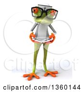 Clipart Of A 3d Bespectacled Green Springer Frog Sailor Reading A Book On A White Background Royalty Free Illustration