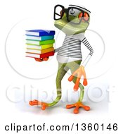 Clipart Of A 3d Bespectacled Green Springer Frog Sailor Walking And Holding A Stack Of Books On A White Background Royalty Free Illustration