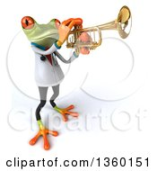 3d Green Doctor Springer Frog Playing A Trumpet On A White Background