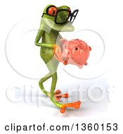Clipart Of A 3d Bespectacled Green Springer Frog Walking And Holding A Piggy Bank On A White Background Royalty Free Illustration