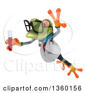Clipart Of A 3d Bespectacled Green Doctor Springer Frog Holding A Test Tube Of Blood On A White Background Royalty Free Illustration