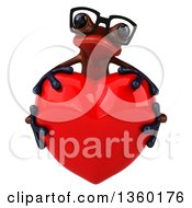 Clipart Of A 3d Bespectacled Red Frog Hugging A Heart On A White Background Royalty Free Illustration
