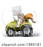 Clipart Of A 3d Bespectacled Squirrel Holding A Blank Sign And Operating A Green Tractor On A White Background Royalty Free Illustration