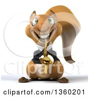 3d Business Squirrel Playing A Saxophone On A White Background