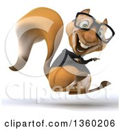 Clipart Of A 3d Bespectacled Business Squirrel Hopping And Pointing On A White Background Royalty Free Illustration