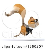 Clipart Of A 3d Bespectacled Business Squirrel Hopping On A White Background Royalty Free Illustration