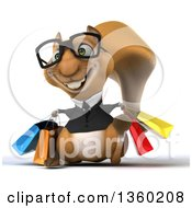 Clipart Of A 3d Bespectacled Business Squirrel Walking With Shopping Bags On A White Background Royalty Free Illustration