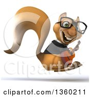 3d Bespectacled Business Squirrel Hopping And Playing A Guitar On A White Background