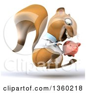 Clipart Of A 3d Doctor Or Veterinarian Squirrel Hopping And Holding A Piggy Bank On A White Background Royalty Free Illustration
