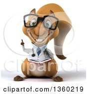 Clipart Of A 3d Bespectacled Doctor Or Veterinarian Squirrel Holding Up A Finger And A Book On A White Background Royalty Free Illustration