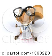 Clipart Of A 3d Bespectacled Doctor Or Veterinarian Squirrel Holding Up A Thumb And A Book On A White Background Royalty Free Illustration
