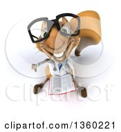 Clipart Of A 3d Bespectacled Doctor Or Veterinarian Squirrel Holding Up A Thumb Down And A Book On A White Background Royalty Free Illustration