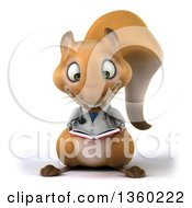 Clipart Of A 3d Doctor Or Veterinarian Squirrel Reading A Book On A White Background Royalty Free Illustration