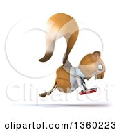 Clipart Of A 3d Doctor Or Veterinarian Squirrel Hopping And Reading A Book On A White Background Royalty Free Illustration