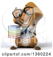 Clipart Of A 3d Bespectacled Doctor Or Veterinarian Squirrel Holding A Stack Of Books On A White Background Royalty Free Illustration