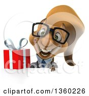 Clipart Of A 3d Bespectacled Doctor Or Veterinarian Squirrel Holding A Gift Over A Sign On A White Background Royalty Free Illustration