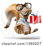 Clipart Of A 3d Bespectacled Doctor Or Veterinarian Squirrel Hopping Giving A Thumb Up And Holding A Gift On A White Background Royalty Free Illustration