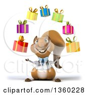 Clipart Of A 3d Doctor Or Veterinarian Squirrel Juggling Gifts On A White Background Royalty Free Illustration