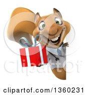Clipart Of A 3d Doctor Or Veterinarian Squirrel Holding A Gift Around A Sign On A White Background Royalty Free Illustration