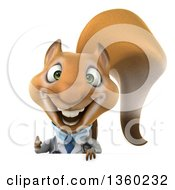 Clipart Of A 3d Doctor Or Veterinarian Squirrel Giving A Thumb Up Over A Sign On A White Background Royalty Free Illustration