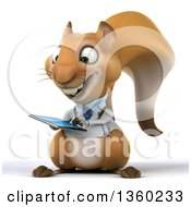 Clipart Of A 3d Doctor Or Veterinarian Squirrel Using A Touch Screen Tablet Computer On A White Background Royalty Free Illustration
