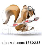 Clipart Of A 3d Bespectacled Squirrel Hopping With A Giant Toothbrush On A White Background Royalty Free Illustration