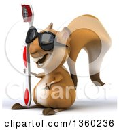 Clipart Of A 3d Squirrel Wearing Sunglasses And Holding A Giant Toothbrush On A White Background Royalty Free Illustration