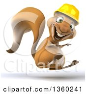 Clipart Of A 3d Contractor Squirrel Wearing A Hardhat Hopping And Pointing On A White Background Royalty Free Illustration by Julos