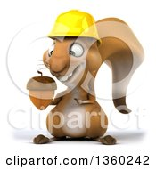 Clipart Of A 3d Contractor Squirrel Wearing A Hardhat And Holding An Acorn On A White Background Royalty Free Illustration by Julos