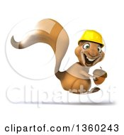Clipart Of A 3d Contractor Squirrel Wearing A Hardhat Hopping And Holding An Acorn On A White Background Royalty Free Illustration by Julos