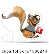 Clipart Of A 3d Bespectacled Business Squirrel Hopping And Holding A Gift On A White Background Royalty Free Illustration