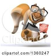 Clipart Of A 3d Bespectacled Business Squirrel Hopping Giving A Thumb Up And Holding A Piggy Bank On A White Background Royalty Free Illustration