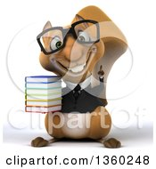 Clipart Of A 3d Bespectacled Business Squirrel Holding A Stack Of Books On A White Background Royalty Free Illustration