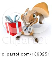 Clipart Of A 3d Doctor Or Veterinarian Squirrel Holding Up A Gift On A White Background Royalty Free Illustration
