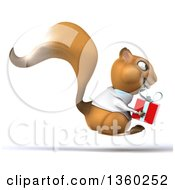 Clipart Of A 3d Doctor Or Veterinarian Squirrel Hopping And Holding A Gift On A White Background Royalty Free Illustration