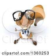 Clipart Of A 3d Bespectacled Doctor Or Veterinarian Squirrel Holding Up A Thumb On A White Background Royalty Free Illustration