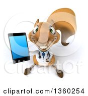 Clipart Of A 3d Doctor Or Veterinarian Squirrel Holding Up A Smart Phone On A White Background Royalty Free Illustration