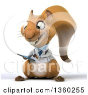 Clipart Of A 3d Doctor Or Veterinarian Squirrel Using A Smart Phone On A White Background Royalty Free Illustration