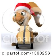 Clipart Of A 3d Christmas Squirrel Moving Boxes On A Dolly On A White Background Royalty Free Illustration