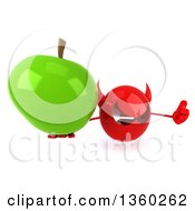3d Red Devil Head Holding Up A Thumb And A Green Apple On A White Background