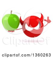 Clipart Of A 3d Red Devil Head Holding Up A Finger And A Green Apple On A White Background Royalty Free Illustration