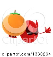 Clipart Of A 3d Red Devil Head Holding A Navel Orange And Jumping On A White Background Royalty Free Illustration