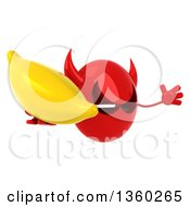 Clipart Of A 3d Red Devil Head Holding A Banana And Jumping On A White Background Royalty Free Illustration