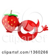 Clipart Of A 3d Red Devil Head Holding A Strawberry And Jumping On A White Background Royalty Free Illustration